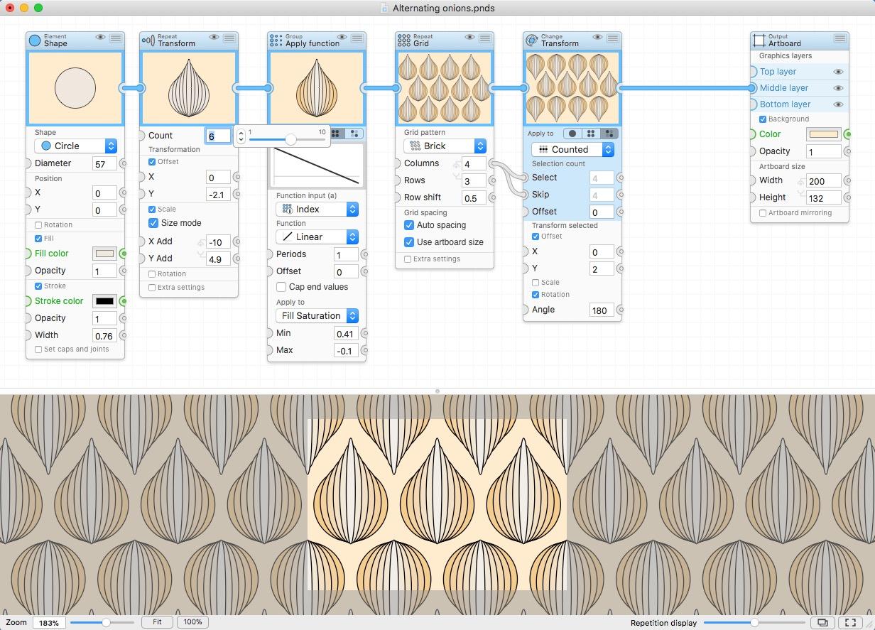 PatterNodes for Mac 2.1.0 破解版 – 创建基于重复的图形模式动画或插图